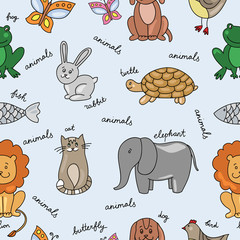Vector hand drawn seamless pattern with animals and pets