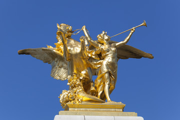 Detail of the Alexandre III bridge, Paris, Ile de France, France