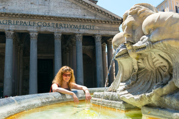 Young female tourist near the Pantheon in Rome