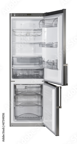 Two door INOX refrigerator isolated on white with clipping path