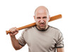 Angry man hand holding baseball sport bat