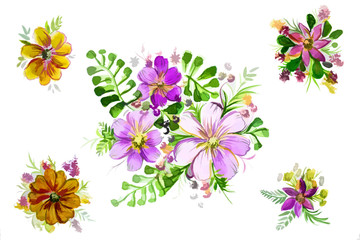 illustration of beautiful flowers with leaves