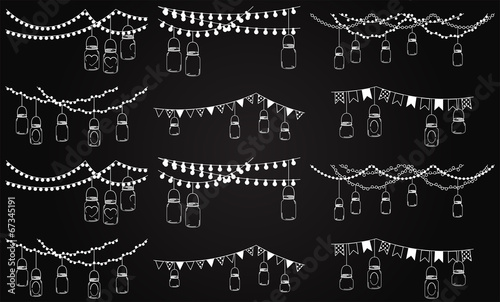 Vector Collection of Chalkboard Style Mason Jar Lights  - 67345191