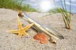 Flaschenpost im Sand mit Muschel und Seestern und Sonne