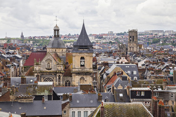 Roofs and towers of Dieppe, France