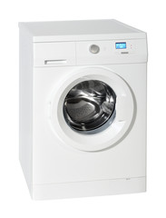 Washing machine isolated on the white with clipping path.