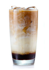 Glass of iced coffe isolated on white
