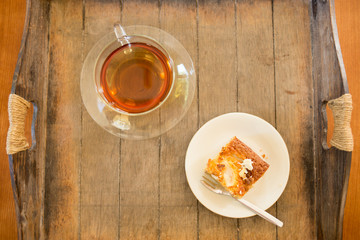 Cup of tea with pear-white-chocolate-cake
