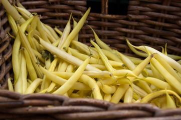String beans at the vegetable market.