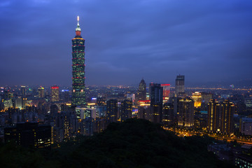 Cityscape of Taipei's downtown in nightfall in Taiwan