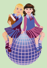 Back to School. Two cute schoolgirls with book and globe