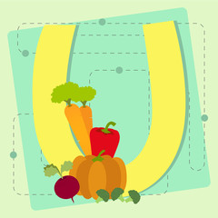 "Letter ""u"" from stylized alphabet with fruits and vegetables"