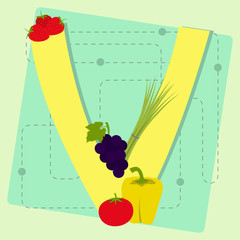 "Letter ""v"" from stylized alphabet with fruits and vegetables"