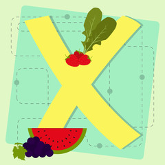 "Letter ""x"" from stylized alphabet with fruits and vegetables"
