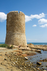 Watchtower on the sea in Sardinia