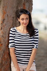 Stock image woman in stripes
