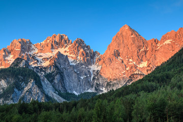Julian Alps illuminated by sun in the morning, Slovenia