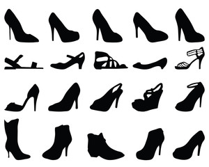 Set of black silhouettes of shoes, vector
