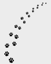 Czarne ślady psów, skręcić w prawo-vector ilustracji