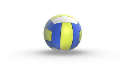 bouncing volleyball on white background