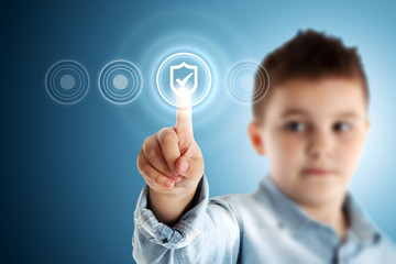 Secure! Boy pressing a virtual touch screen. Blue background.