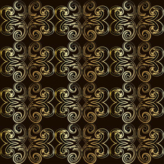 Vintage seamless pattern with golden curls in Victorian style.