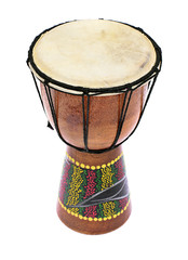 African Wooden Drum Isolated on a White Background