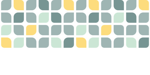 Abstract gray yellow rounded squares horizontal seamless pattern
