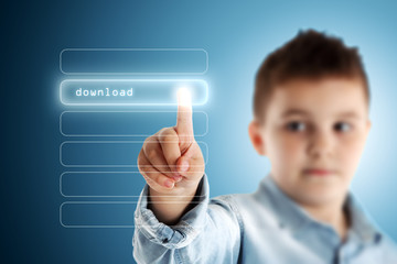 Download. Boy pressing a virtual touch screen. Blue background.