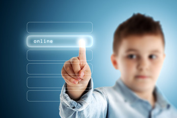 Online. Boy pressing a virtual touch screen. Blue background.