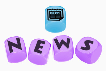 word NEWS on cubes