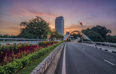 Perspective view of sunset at Malaysian Parliament