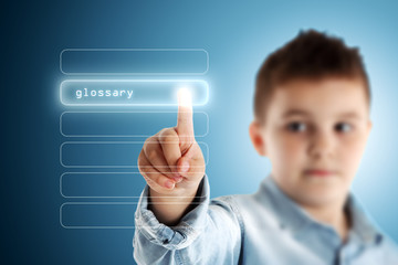 Glossary. Boy pressing a virtual touch screen. Blue background.