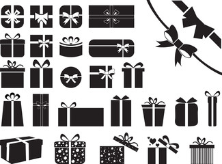 Gift boxes illustrated on white