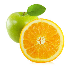 Apples and orange isolated on white background