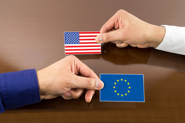 business card with europe and usa Flag