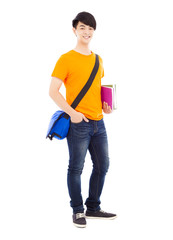 confident student holding books and slanting knapsack