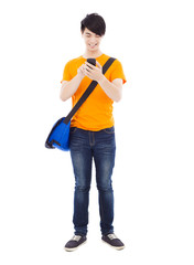 young student touching a smart phone with white background