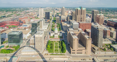 Aerial View of the city of Saint Louis, Missouri as seen from th