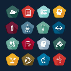 Science icons set, study buttons collections