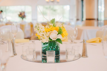 Yellow & White Wedding Centerpiece