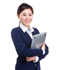 Asian business woman with laptop computer