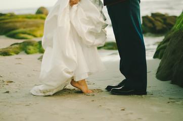 Beach Wedding Couple Feet