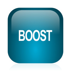 boost blue glossy internet icon