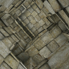 3d fragmented tiled mosaic labyrinth interior in gray beige