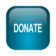 donate blue glossy internet icon