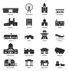 Set of Building City Icon in Flat Design
