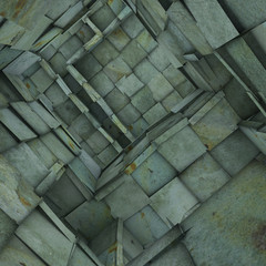 3d fragmented tiled mosaic labyrinth interior in blue green