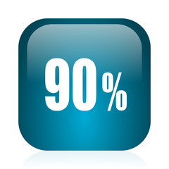 90 percent blue glossy internet icon
