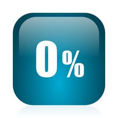 0 percent blue glossy internet icon